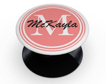 Custom Coral Name Script Monogram - Skin Decal Kit for the PopSocket Smartphone & Tablet Stand
