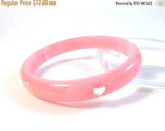 "15% OFF Vintage Bakelite Bracelet - Juicy Bubblegum Pink Marblette with Rhinestone Hearts Polished Catalin Bakelite Bangle 7/16"""