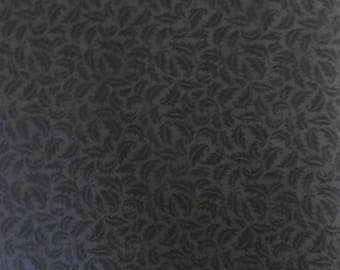 Clearance SALE Cotton Fabric,Quilt,Home Decor,Black on Gray,Lillian's Leaves by David Textiles~Fast Shipping SB136