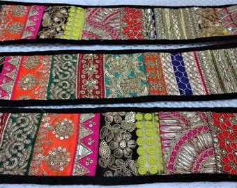 Indian Patch Embroidered Lace, Ethnic Trim, Saree Border, Fabric Lace, Zari Lace - one yard patch work multicolour lace