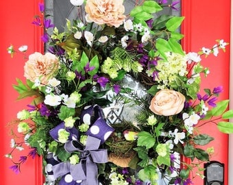 Purple Spring Wreath, Polka dot wreath, Spring door wreath, Large spring wreath, floral door wreath, Spring Summer wreath, floral door decor