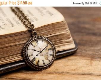 20% OFF Tiny vintage clock pendant, brass pendant, glass dome pendant, antique bronze pendant, antique brass necklace, vintage clock necklac