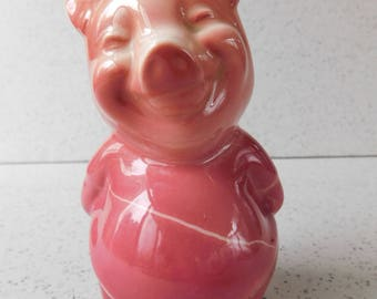 """Vintage Pottery Piggy Bank, Pink Pig, Coin Bank, Figure, Figurine, Collectible, """"Parky"""" Pig"""