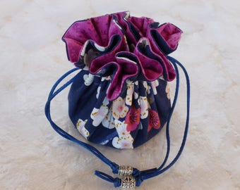 NEW - Travel Jewelry Pouch - Japanese Plum Blossom Navy and Pink with Silver Beads