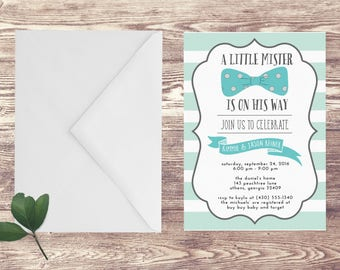 Baby Shower Invitation, Little Mister Baby Shower Invitation, Couples Baby Shower Invite, Baby Sprinkle Invite, Bow Tie Baby Shower Invite