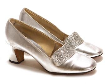 1960s Silver Metallic Glitter High Heels by Capriccio -Size 5M