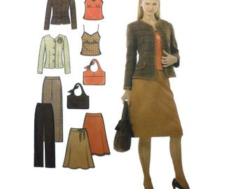 "Women's Camisole Top, A-Line Skirt, Pants, Jacket Sewing Pattern Misses Size 4, 6, 8, 10 Bust 29, 30, 31, 32"" Uncut Simplicity 4951"