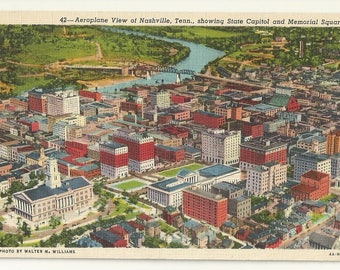 1940s Linen Postcard- Aeroplane View of Nashville,  Davidson County, Tennessee, TN. ~ Free Shipping