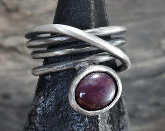 Ruby ring, silver ring, rough ring, wrap ring, sterling silver, boho, rustic, raw, big stone ringbeauty gift, clothing gift, wrapping ring