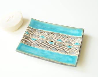 Modern Soap Dish, Ceramic Soap Dish, Turquoise Soap Dish, Large Soap Holder, Rectangle Soap Dish, Ceramics and Pottery, Soap Bowl