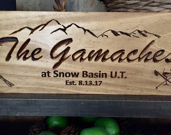 Custom Wooden Signs,  Carved Sign, Mountains, Skis Poles, Winter Sports, Snow, Ski Lodge, Custom Wall Art Outdoor Signs, Benchmark Signs
