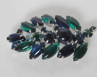WEISS Emerald & Montana Sapphire Rounded Top Navette Rhinestone Brooch - Signed