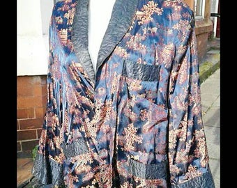 Ace 1950s 60s blue satin oriental robe smoking jacket mens but could be worn by a woman too