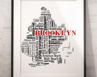 Brooklyn Map Art, Brooklyn Art Print, Brooklyn Neighborhood Map, Brooklyn Typography Art, Brooklyn Wall Decor, Brooklyn Moving Gift