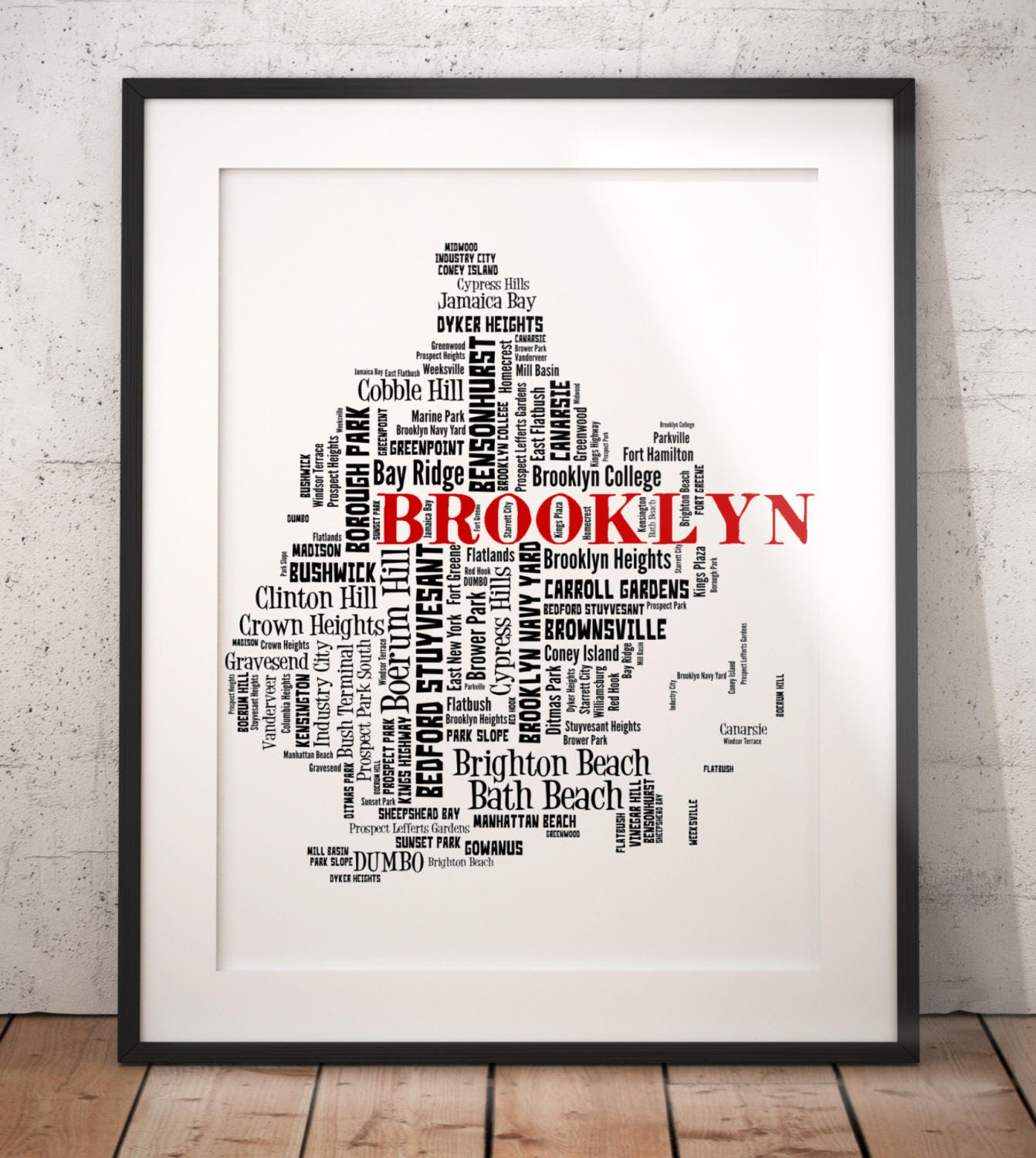 Color art printing anchorage - Brooklyn Map Art Brooklyn Art Print Brooklyn Neighborhood Map Brooklyn Typography Art Brooklyn Wall Decor Brooklyn Moving Gift
