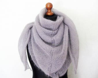 Gray mohair scarf - knitted shawl - knitwear - knit shawl - mohair shawl - knit accessory - women scarves - grey shawl - wool scarf - gift