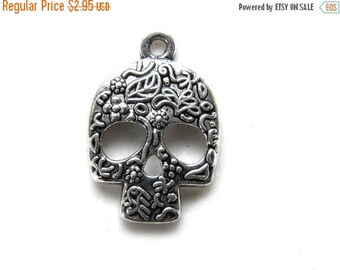 HALF PRICE 6 Silver Sugar Skull Charms