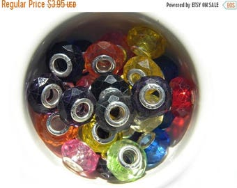 HALF PRICE 10 Assorted Faceted Crystal Colours Large Hole Silver Core Beads For European Charm Bracelets Etc