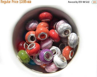 HALF PRICE 10 Assorted Marbled Large Hole Silver Core Beads For European Charm Bracelets Etc