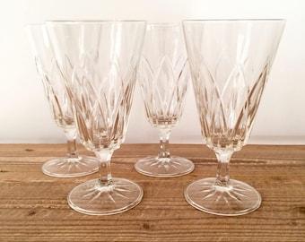 Set of 4 Vintage Cut Glass Crystal Water Iced Tea Wine Cocktail Glasses