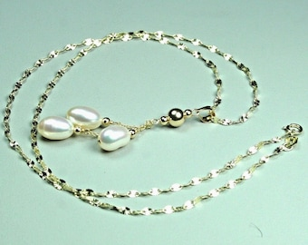 14K solid yellow gold natural 8x6mm AAA freshwater white pearl necklace 20 inches, 2.7 grams