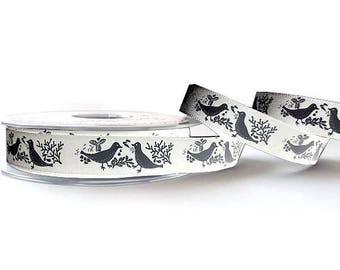 Ribbon ivory chic bird motif and grey 15 mm