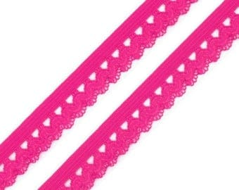 Elastic lace trim pink 15 mm