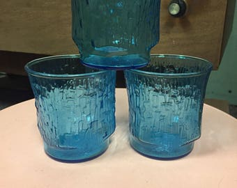 Vintage Blue Crinkle Glasses Set of 3
