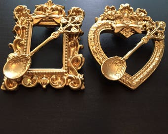 Gold Picture Frame Spoon and Bow Pin / Pick One or Both / Lolita Classic Pin Accessory / Vintage Antique Style Picture Frames