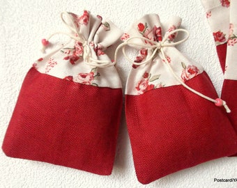 10 Dark Red Linen Cotton Pouches Red Roses Pouches Burgundy Wedding Small Bags