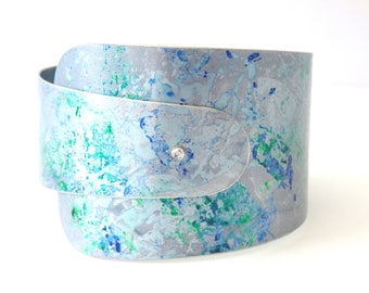 Grey green and blue aluminium cuff