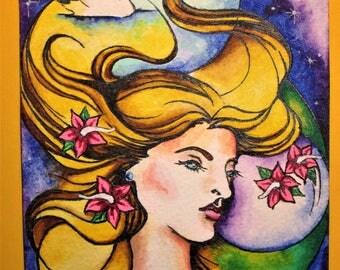 Hand painted postcard Celtic Goddess Caer Ibormeith