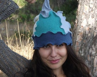 SALE Recycled wool fabric handmade pointy hat Patchwork hat Pixie Fairy Elven Hippie Gypsy Bohemian hat Shades of Blue