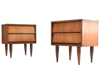 Mid Century Modern Walnut Nightstands - MCM Nightstands/End Tables - A Pair