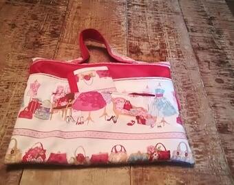 Tablet carrying case bag and shoe unique pink print vintage fabrics