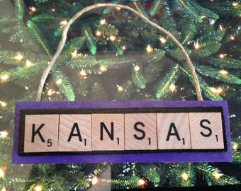 KSU Kansas State Wildcats Christmas Ornament Scrabble Tiles Handmade