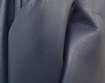 """Leather Cow hide side 29 sf Noble Navy Blue """"Signature"""" 2 1/2-3 ounces flat grain DE-61555 (Sec. 9,Shelf 2,B)"""