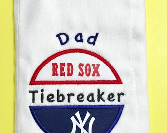 Personalized House Divided Baby Baseball Burp Cloth READY TO SHIP Boston Red Sox New York Yankees