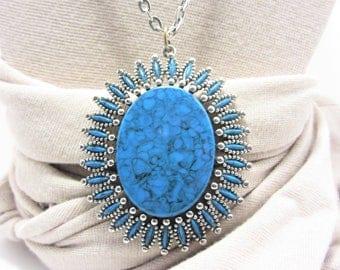 Vintage Southwestern Large Faux Turquoise Pendant Necklace Jonette Jewelry