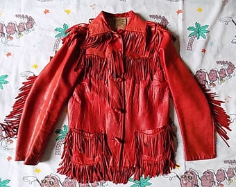 Vintage 60's Red Leather Fringe Jacket, size Small by Desert Suedes