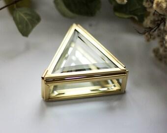 Triangular small brass box, golden box, Ring bearer box, hexagon ring box, brass geometric ring box, brass box,