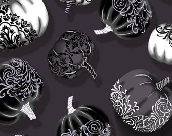 Fright Night - Metallic Pumpkins - Fabric by the yard