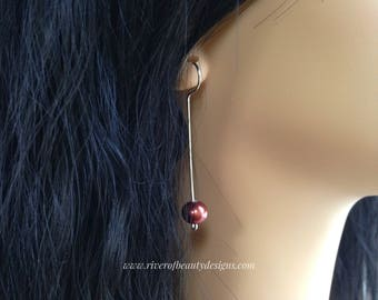 Long Red Pearl Drops on Tarnish-Resistant Argentium Sterling Silver Wire