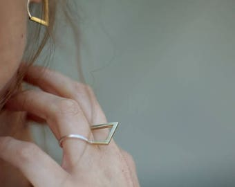 ON SALE 14K Gold & 925 Silver Extention Geometric Rounded Statement Duo Toned Minimalist Thin Ring - Handmade Product
