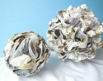 Oyster Ball-Shell Ball-Decorative Ball-Seashell Ball-Decorative Sphere-Oyster Art-Seashell Ball-Oyster Shell Art- Seashell Ball