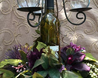 Wedding Special Occasion Centerpiece Purple Aubergine Eggplant Wine Bottle Candelabra Votives Personalized