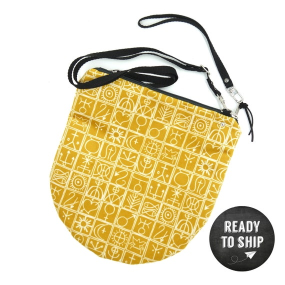 """Yellow graphic """"Trulli"""" shoulder bag, LARGE brushed Poly Pochette"""