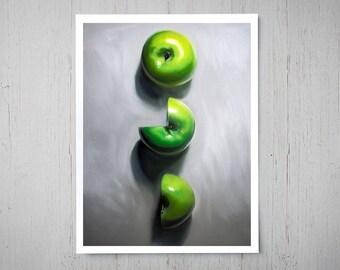 Sliced Apple Trio - Fruit Fine Art Oil Painting Archival Giclee Print Decor by Artist Lauren Pretorius