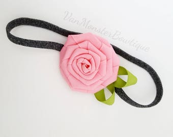 Pink Rose On A Heather Grey Headband