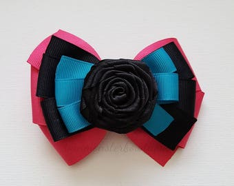 Black Roses In My Garden Hair Bow with Pink and Blue/Teal